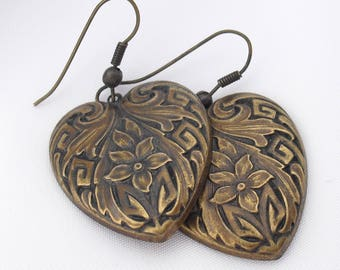Victorian Style Earrings, Stamped Metal Hearts
