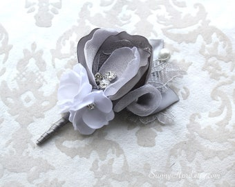 Gray White/ Ivory Boutonniere/ Wedding Lapel Pin/ Handmade Wedding Accessory