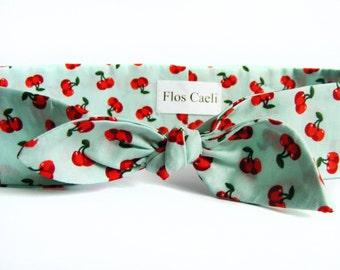 Cherry Headband on Mint Green - Bow Headband - Women Headbands - Cotton Hair Scarf - Red Cherries - Spring Cute Headband - Retro Headband