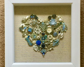 Heart Shadow Box - Vintage Jewelry - Silver and Blue