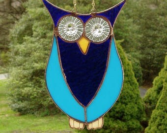 Stained Glass Owl, Owl Suncatcher, Blue Glass Owl, Repurposed Glass Owl Suncatcher