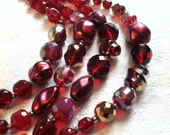Vintage 50s 4 Strand Red Glass Bead Necklace....Luscious!!