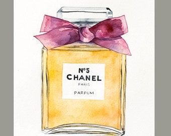 Water Color Chanel No 5 Perfume with Pink Bow (8'x10')  Original Art