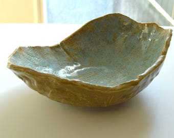 Vintage Bowl Hand Built Clay Pottery Blue Brown Ceramic Dish Textured Earthy Piece