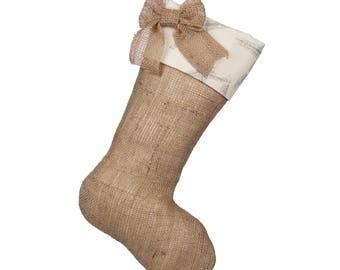 Starfish Christmas Stockings - Burlap Boot with Starfish Cuff and Natural Burlap Bow - Single Stocking (1)