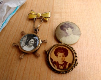 Victorian Photo or Mourning Pins Jewelry Two Women and Small Child 1900s-1930s Era Locket Post Mortem Momentos
