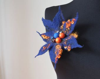"Harlequin"", large felt brooch,ultramarine blue with bright orange curls hand felted brooch with beads, one-of-a-kind,unique woolen accessory"
