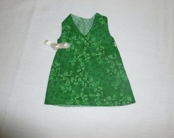 Green print reversible jumper for Fisher Price My Friend Jenny, Mandy or Becky dolls