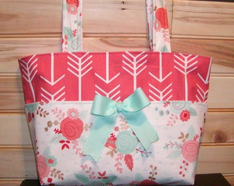 READY to ship Diaper bag, handbag, purse, book..Floral N Coral Arrows..Match your carseat canopy(see fashionfairytales).