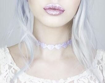 Lilac Metallic Love Heart Choker - Necklace - Christmas