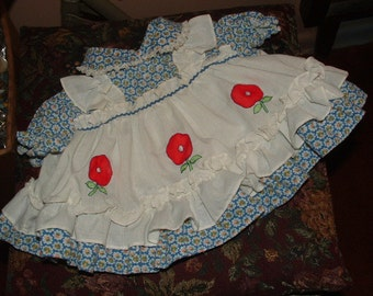 vintage baby dress or doll - 3 flowers ruffles  1960s 70s  still very adorable