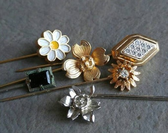 Vintage stickpins lot! Flowers victorian deco