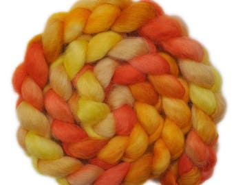 Hand painted spinning fiber - Wensleydale wool combed top roving - 4.0 ounces - Forging Copper 1