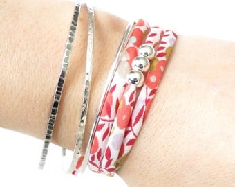 Girlfriend's birthday gift idea, cute little wrap bracelet with silver beads, colourful spring jewellery for girls