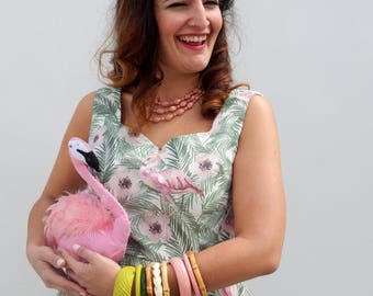 Ready to ship hand made flamingo print full skirt dress and matching bolero, vintage inspired 50s dress