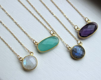 Gold Necklace Dainty Gem Necklace Gold Jewelry Labradorite Necklace Minimalist Necklace Jewelry Aqua Chalcedony Rainbow Moonstone Amethyst