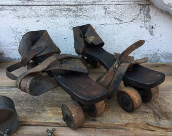 Antique Wooden Roller Skates - Leather Straps - Dated 1892