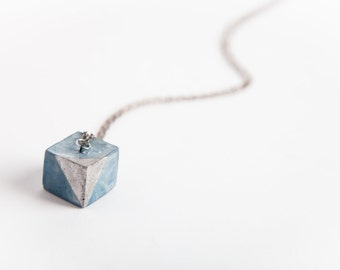 Concrete Jewelry, Concrete Cube  Necklace (Indigo w/Silver Accent), Cement Jewelry, Modern, Geometric, Women's Gift Under 30