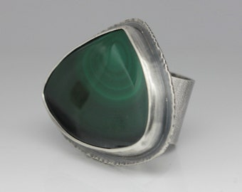 Freeform Malachite Ring, Malachite & Sterling Ring, Big Statement Ring, Boho Ring, Le Chien Noir, Unisex, Size 8.5