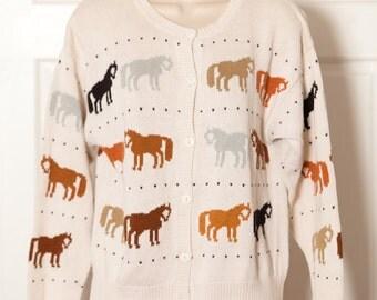 Women's 90s Horse  Cardigan Sweater - MILLERS - S