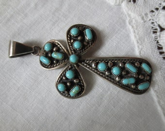Beautiful Signed Genuine TURQUOISE & STERLING CROSS
