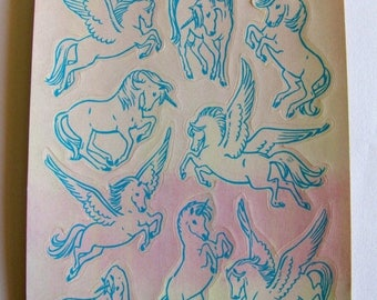SALE Unicorn Pegasus Hallmark Pearly Vintage Sticker Sheet - Pearl Iridescent Fantasy Opal MOP 80's Collectable Scrapbook