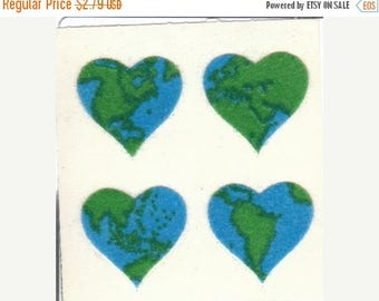 SALE Earth Hearts Vintage Sandylion Fuzzy Stickers 80's - Globe Global Collectible Scrapbook