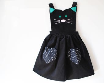 Girls cat pinafore dress with glitter ears