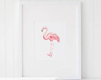 Flamingo Watercolor Print, Instant Download Painting, Digital Flamingo Wall Art Print - Flamingo Watercolor Art Drawing Watercolor - 8x10