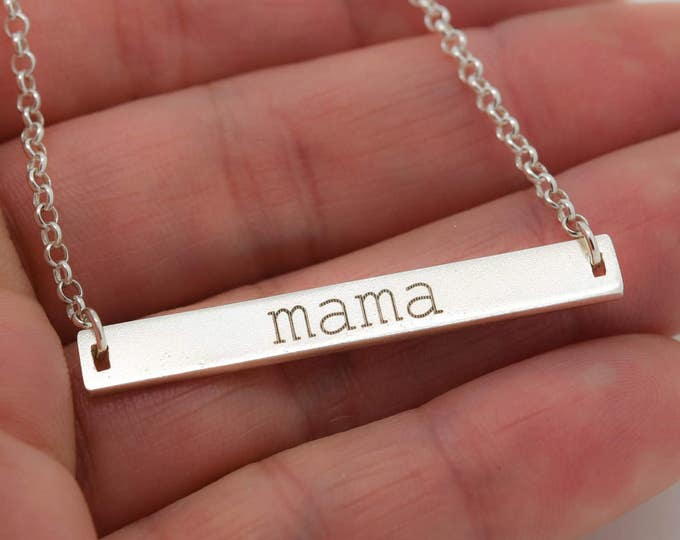 Handwriting Engraving, Handwriting Jewelry, Mom Necklace, Mom Jewelry,Personalized Jewelry, Mothers Day Gift, Bar Necklace,Engraved Necklace