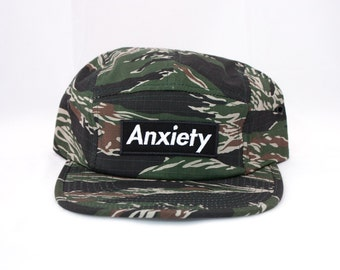 ANXIETY Camo Hat / 5 Panel Cap / Five Panel Hat / Embroidered / Patch / Futura