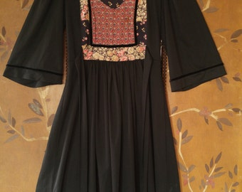 70s black and flowered hippie boho dress by Young Edwardian by Arpejo