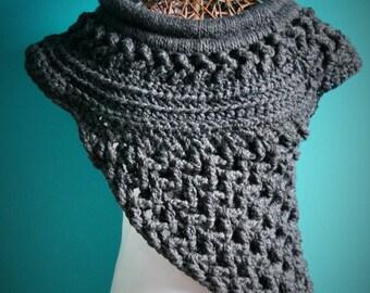 Crochet Charcoal Cowl,Katniss Inspired Knit Cowl,Huntress Cowl,Rustic Crossbody Shawl,Catching Fire Wrap,Katniss Scarf,Bulky,Chunky Knit