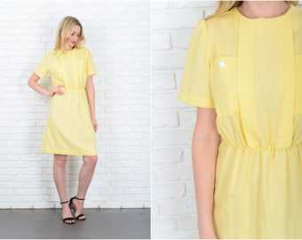 Vintage 80s Yellow Retro Dress Puff Sleeve Secretary Small Medium S M 9443