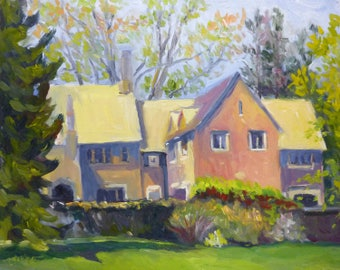 Plein Air Landscape Oil Painting Campus Architecture and Light