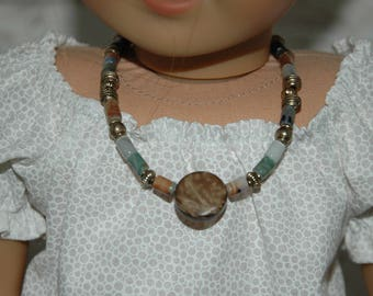 Doll, necklace, american, made, girl, doll jewelry, 18 inch doll, beaded, 9