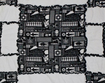 Black and White Star Wars Rag Quilt