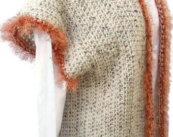 Crochet Vest, FauxFur Vest, Boho Chic Vest, Aran Fleck Vest, Women Vest, Stylish Vest, Gift for Her, Boho Style Vest, Crochet Top, No Wool
