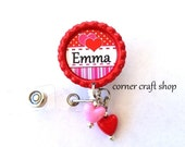 Valentine's Day Personalized Name RED Bottle Cap Retractable Badge Holder ID Reel  with heart beads