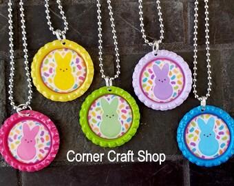 1 Easter PEEPS Bunny Necklace 5 Colors You Choose Color Bottle Cap Easter Basket Gift
