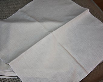 8 Ecru Linen Table Napkins