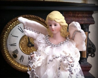 SANTA SALE 80s Lighted Angel Tree Topper  - Retro Christmas Angel Light - White Satin Dress with Silver Accents - Porcelain Head & Hands