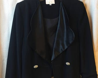 Vintage 1980s black CACHE size 6 blazer jacket polyester satin accent TUXEDO collar sleeve trim RHINESTONE buttons
