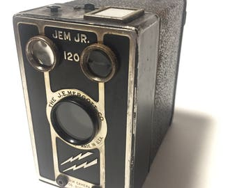 Jem Jr Vintage 120 Box Camera - Great Design Lightning Bolts!