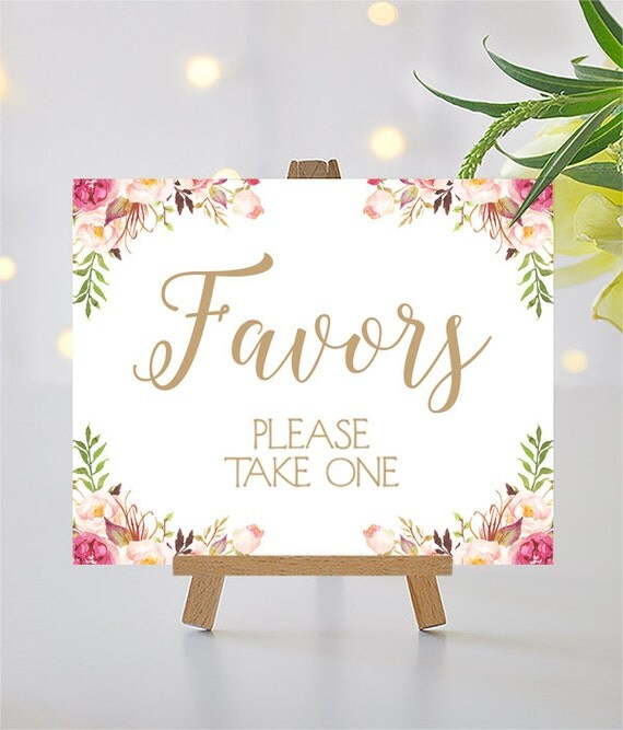 Favors Sign | 8 x 10 | DIY Printable | Carousel | Antique Gold | Romantic Blooms | PDF and JPG Files | Instant Download