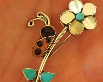 Lady bug Flower Pin / Pendant  Inlay Turquoise, coral, mother of pearl, onyx in Sterling Silver
