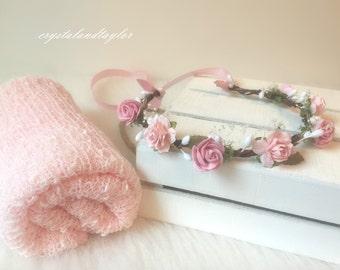 Floral Halo and Wrap, Soft Baby Wrap, Stretch Wrap, Photo Prop, Newborn Headband, Newborn Props, Newborn Wrap, Baby Halo, Girl Halo