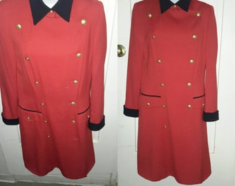 Vintage ESCADA MARGARETHA LEY Red Wool Military Coat Size M 38