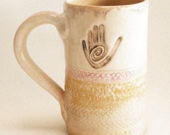 healing hand ceramic stoneware coffee mug 16oz  stoneware 16D012