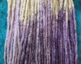 CUSTOM transitional ombre crochet synthetic dreadlock extensions - natural look, single ended, long, 60 pieces.
